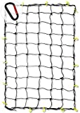 Neiko 50971A 4'x6' Super Duty Cargo Net | Bungee Net Stretches to 8'x12' | 16 Pcs Detachable hooks, 4 Carabiners, Small 4'x4' Mesh Protects Small Items, for SUV, ATV/UTV, RV, Pickup Truck Bed, Trailer