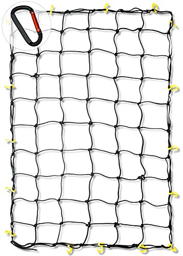 "Neiko 50971A 4'x6' Super Duty Cargo Net | Bungee Net Stretches to 8'x12' | 16 Pcs Detachable hooks, 4 Carabiners, Small 4""x4"" Mesh Protects Small Items, for SUV, ATV/UTV, RV, Pickup Truck Bed, Trailer"