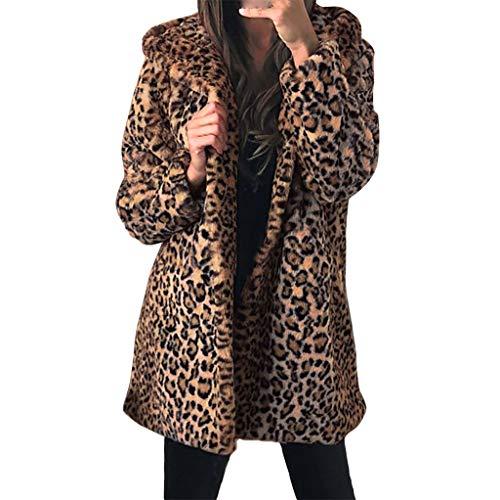 ღJiaMeng Damen Lange Leopard Jacke Herbst Winter Warme Wollmantel Langarm Kapuzemantel Leopard Druck Kunstpelz Pelzmantel(Weihnachten Ladenangebot)