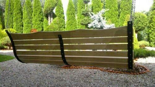 123home24 NEU Holz Hollywoodschaukel Bank Sitz ZUR SCHAUKEL 180 150 120 cm + Kette + KARABINER XXL (180) - 6