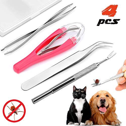 Zeckenzange für Mensch Hunde Katzen, Edelstahl Zeckenpinzette Zeckenentferner Zeckenzangen, Zecken Entfernen Set enthält Doppelseitiger Pinzette + Zeckenhaken + Zeckenpinzette + Aufbewahrungsbox