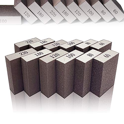 12 Pack Sanding Sponges,6 Different Specifications Sanding Blocks in 60/80/100/120/180/220 Grits,Great for Pot Brush,Polishing Wood and Metal