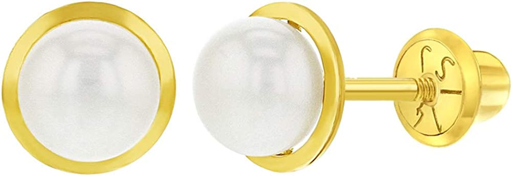 14k Max 62% OFF Finally resale start Yellow Gold Girl's White Cultured Pearl Screw Back Bezel Set