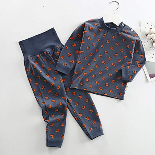 TINGYIN Bebé Pijamas Set - 100% algodón Primavera y el otoño Patrón Linda del Hombro del botón Imprimir De Manga Larga Blusa del diseño de Cintura Alta del Vientre Pantalones-Protegiendo