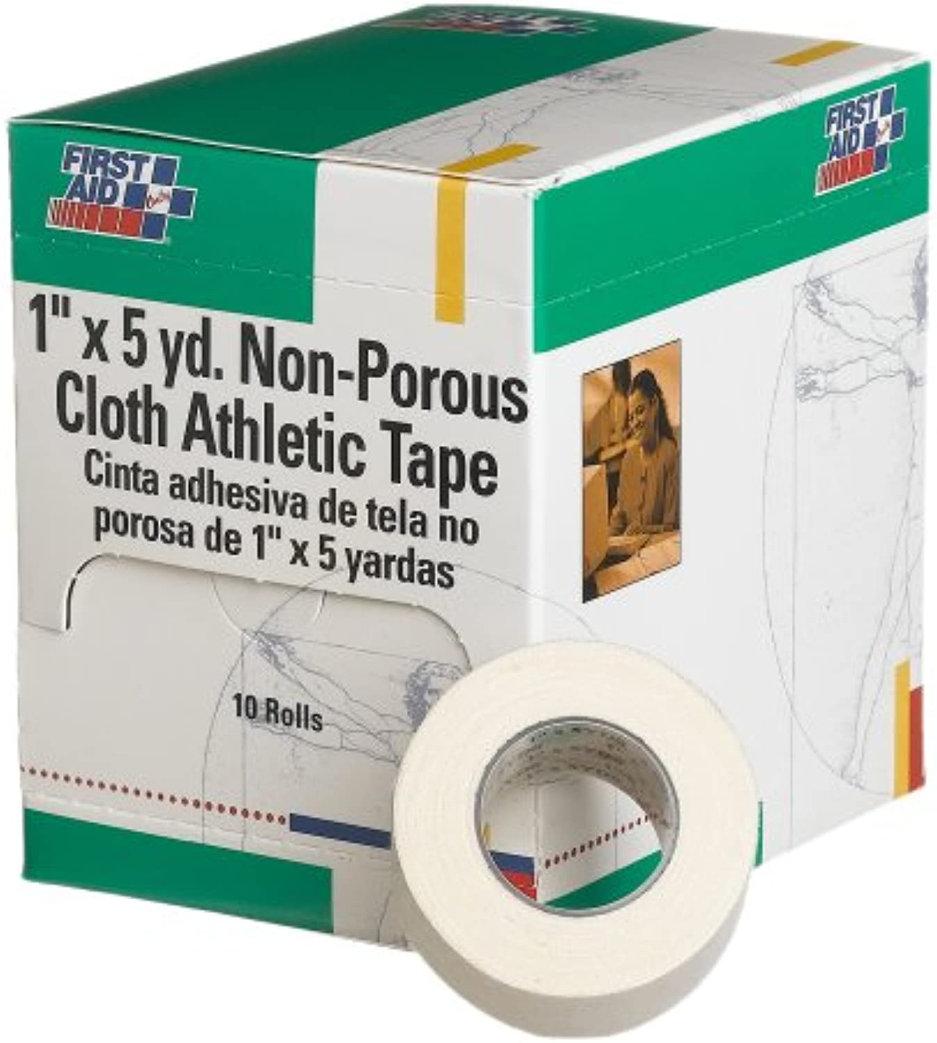 First Aid Only 2.5cm X 5 Yd. Nonpgoldus Cloth Athletic Tape Roll, 10Count Box