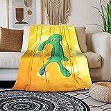 Bold and Brash Manta de forro polar para cama, diseño de dibujos animados amarillos, impresión de una sola cara, ligera, acogedora, suave, sintética para el hogar al aire libre decor 100x130cm