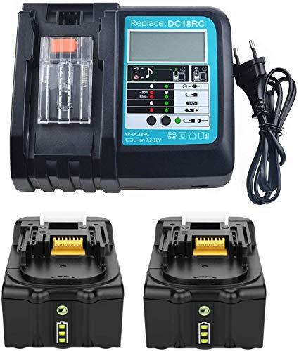 2 baterías BL1860 B 18 V 6,0 Ah con cargador de repuesto DC18RC para Makita BL1850B BL1815 BL1840B BL1815N, Makita DUC353Z DLM380Z DLM431Z DUH523Z DLM431Z y radio Makita DMR110 DMR104 DMR108