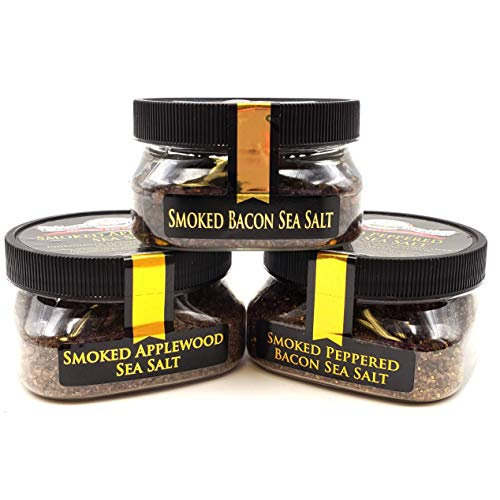Keto Smoked Sea Salt Collection 3-Pack: Smoked Bacon Coarse, Smoked Peppered Bacon, Smoked Applewood - Perfect for Adding Keto-Friendly Flavor to Your Favorite Foods - Non-GMO, Gluten-Free, No MSG (12