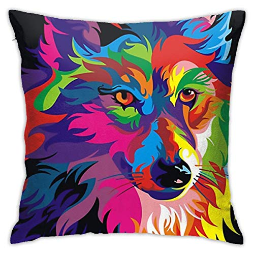 huatongxin Colorful Wolf Throw Pillow Covers Classical Cushion Case Soft Comfy Pillow Case for Room Bedroom Sofa Chair Car 18 X 18 Inch