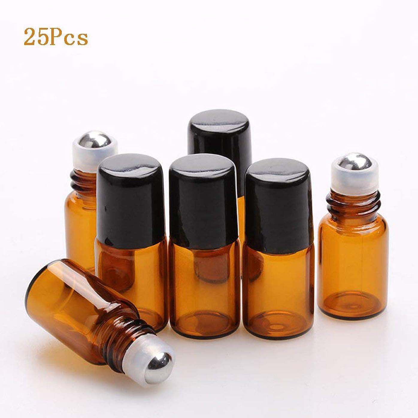 武器サポートレキシコンロールオンボトル アロマ ガラス容器、25ピース1ミリリットル琥珀ミニステンレス鋼ボールオイル液体ボトル香水瓶、化粧品ボトル