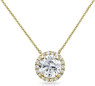 Sterling Silver Created White Sapphire Halo Slide Pendant Necklace for Women Girls
