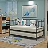 Panana Metal Bed 3FT Single Day Guest Bed with Pull Out Under Bed