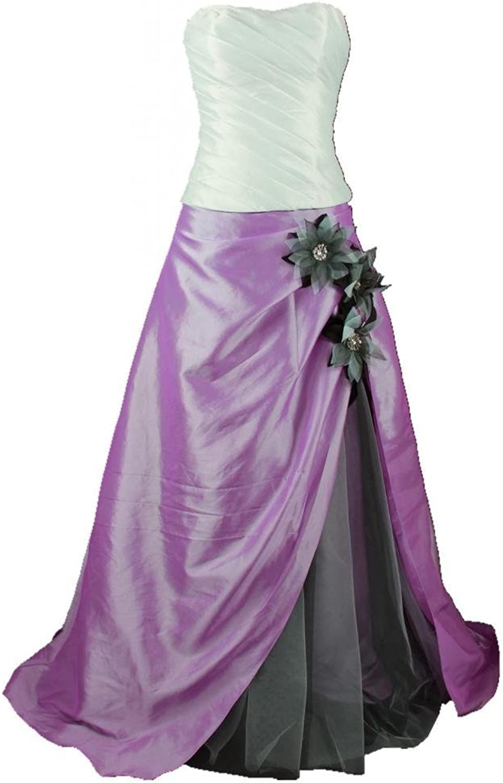 Charmingbridal Strapless A Line Taffeta Prom Evening Dress Formal Gown Flowers Jacket