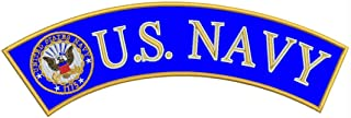 U.S Navy Yellow Border Iron On Sew On Top Rocker Large Back Patch for Jacket Vest