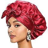 Satin Bonnet for Women, Silk Bonnet for Curly Hair Sleeping, African Head Wraps for Black Women Hair Bonnet for Braids