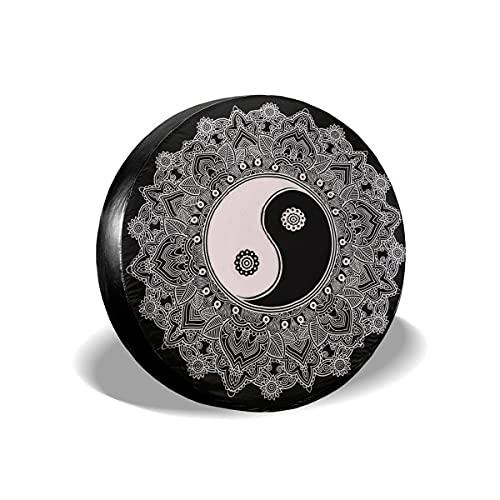 N\A Indian Mandala, en Blanco y Negro, diseño Personalizado, para neumáticos, Impermeable, a Prueba de Polvo, para neumáticos, Apto para Todos los Coches
