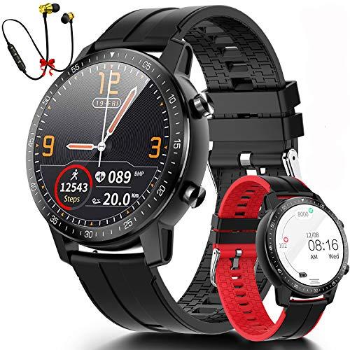 Smartwatch Reloj Inteligente Hombre Mujer Niños Monitor Pulso Cardiaco Pulsera Actividad Reloj Inteligente Bluetooth Cardio Podómetro Reloj Deportivo Impermeable Cronómetro para Android iOS(Negro)