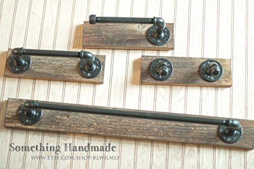 Industrial Barn Wood Bathroom Set rustic 1892 reclaimed barn wood 18 or 24 inch towel bar/hand towel bar /robe rack/toilet paper holder