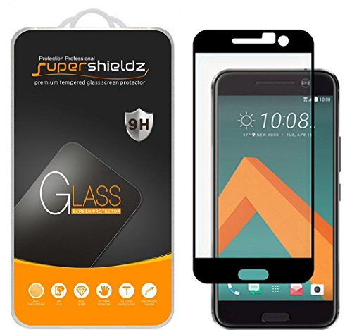 Supershieldz for HTC 10 Tempered Glass Screen Protector, (Full Screen Coverage) Anti Scratch, Bubble Free (Black)