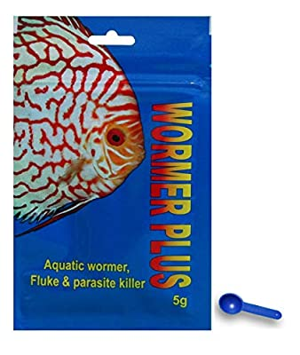 Kusuri Products LTD WORMER Plus - Freshwater and Saltwater Fish Powder Medication. Dewormer for Fish with parasites and Flukes. (5G - Treats 600 GALLONS)