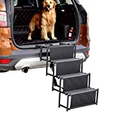Nobranded Upgraded Dog Stair, Portable Metal Frame Large Dogs Ramp for Cars, SUV, Trucks and High Bed, 4 Steps