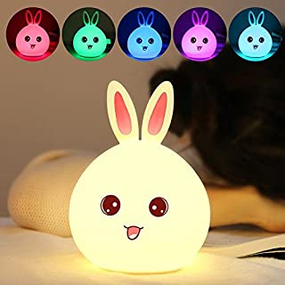LED Cute Rabbit Lamp Safe Silicone Multi Colors Nursery Night Light for Kids Toddler Baby Girls Rechargeable Decorative De...