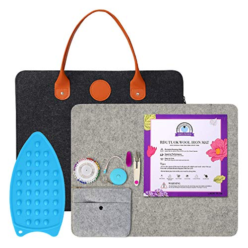 Rdutuok 17 x13.5 Inches Wool Pressing Mat for Quilting with Carrying Case 100% New Zealand Wool Felted Ironing Pad for Sewing, Quilting Supplies