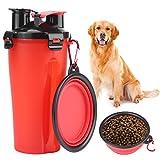 HEEPDD Ciotole per Cani e borracce, 2 in 1 Borraccia per Cani da Viaggio Portatile da Viaggio con Ciotola Pieghevole per Animali Domestici (Rosso)