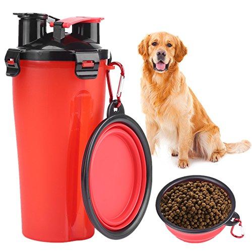 Hond Water Fles Hond Bowls, 2 in 1 Draagbare Reizen Hond Drinkwater Fles met Inklapbare Kom voor Huisdier Outdoor Wandelen Reizen