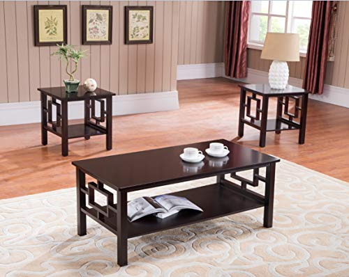 Kings Brand Furniture 3PK 3 Pc. Wood Coffee 2 End Tables Occasional Set, Cherry