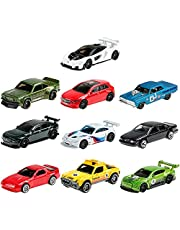 Hot Wheels Nightburnerz 10 Pack Mini Collection, 10 1:64 Scale Vehicles Themed to Super Speeders for Night Driving Each with Authentic Sculpt, Gift for Collectors & Kids Aged 3 Years Old & Up