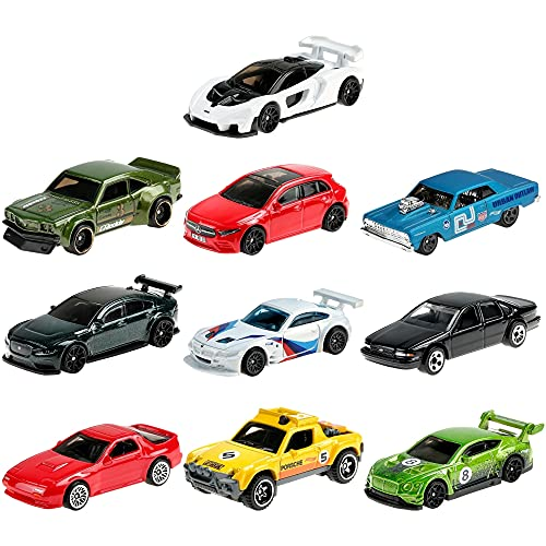 Hot Wheels Nightburnerz 10 Pack Mini Collection, 10 1:64 Scale Vehicles Themed to Super Speeders for Night Driving Each with Authentic Sculpt [Amazon Exclusive]
