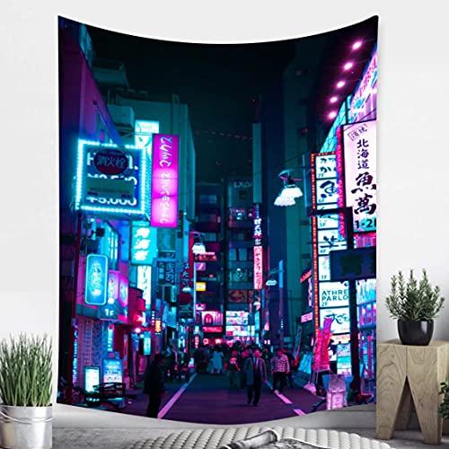 Danjiao Tapiz De La Vida Nocturna Metropolitana De Tokio Colgante De Pared Dormitorio Impreso Japonés Decoración del Hogar Tela De Pared De Fondo Hippie Bohemio Sala De Estar Decor 150x130cm