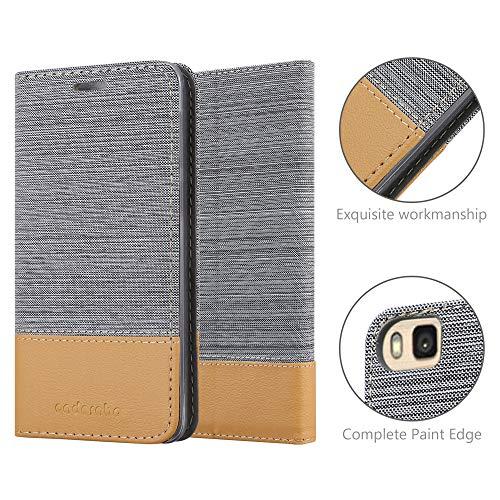 Cadorabo Hülle für Huawei P8 MAX - Hülle in HELL GRAU BRAUN – Handyhülle mit Standfunktion und Kartenfach im Stoff Design - Case Cover Schutzhülle Etui Tasche Book - 6