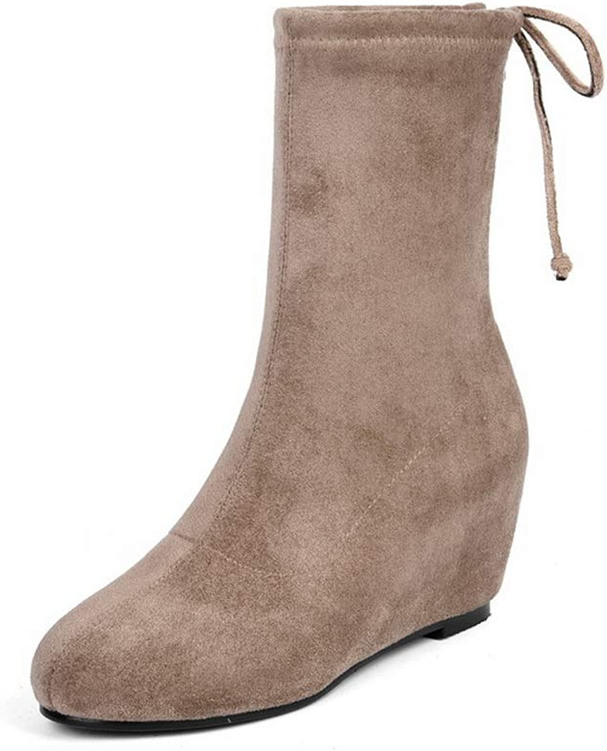 AdeeSu Womens Bucket-Style Wedges Boots Leather Boots SXE04431