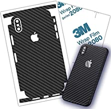 Carbon Fiber 3M Film for iPhone X, XS, XR. XS MAX Skin Wrap Protective Around Borders and Back Thin 3D Elegant Skin (iPhone Xs MAX)