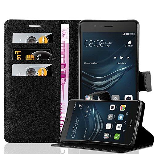 Cadorabo Hülle für Huawei P9 LITE in Phantom SCHWARZ - Handyhülle mit Magnetverschluss, Standfunktion & Kartenfach - Hülle Cover Schutzhülle Etui Tasche Book Klapp Style