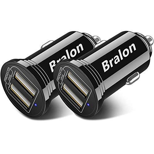 USB Car Charger[2-Pack],Bralon Smart 2 USB Ports Car Charger with 24W/4.8A Output Flush Compatible with iPhone 11 Pro(Max)/Xs(Max)/Xr/X/8/7,iPad Pro/Mini,Galaxy Note S10 S9 S8 S7 and More