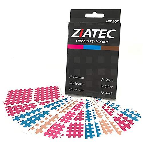 ZiATEC Cross-Tapes mit 102, 204 & 306 Pflaster, Gittertapes, Akupunktur-Pflaster mit Gitternetzstruktur, Physio-Tape, Farbe:Mix - 306 Stück, Größe:Uni-Box