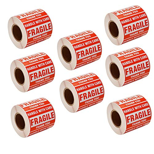 """SJPACK 5000 Fragile Stickers 10 Rolls 2"""" x 3"""" Fragile - Handle with Care - Thank You Shipping Labels Stickers (500 Labels/Roll)"""