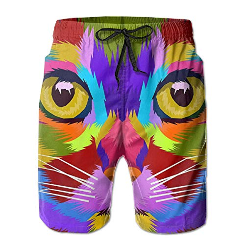 Fashion Swim Trunks with Drawstring, Water Repellent Wrinkle-Free Swim Shorts, Best Cubism Colorful Cute Cat Oceanside Shorts for Outdoor Soccer Gym