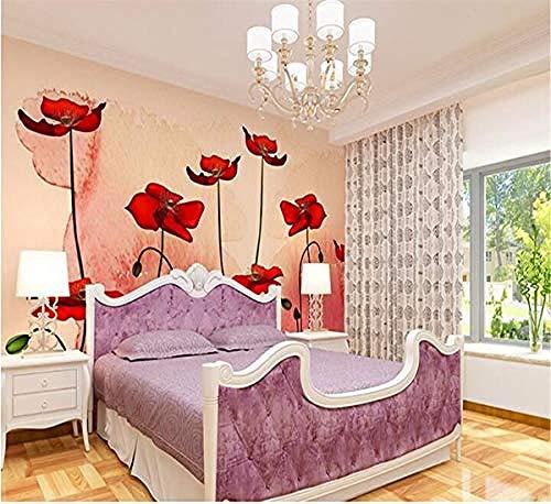 Planta Flores Pastoral Fondo Moderno Europeo Con Flores Amapolas Pared Pintado Papel tapiz 3D Decoración dormitorio...