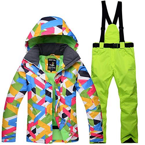 Yeah-hhi Traje de esquí para mujer, chaqueta y pantalones, impermeable, resistente al viento, snowboard, con capucha, para deportes al aire libre, 14, XXL
