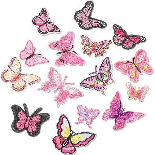 15 Pezzi Patch di Farfalle Termoadesivo Patch Applique di Farfalla Rosa Patch per Riparazioni Cucite Ricamate a Farfalla per Decorazioni Jeans Giacca Cappelli Borse Vestiti