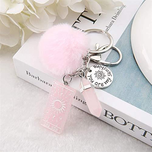 LKITYGF Perfect Key chain 1PC Keyring Tarot Card Sun Resin With Puffer Ball Quartz For Men Women Keychain Trinket Car Key Ring Jewelry (Color : Sun Glitter Pink)