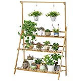 2/3/4-Tier Planter Rack - Bamboo Hanging Plant Stand Flower Pots Holder Disply Rack Indoor Outdoor, Patio Garden Rustic Wood Stand with Shelves, Shelving Unit for Corner Balcony (Yellow)