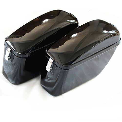 Vivid Black Large Hard Saddle Bag Trunk W brackets for Harley Honda Suzuki Yamaha Hard Saddlebags