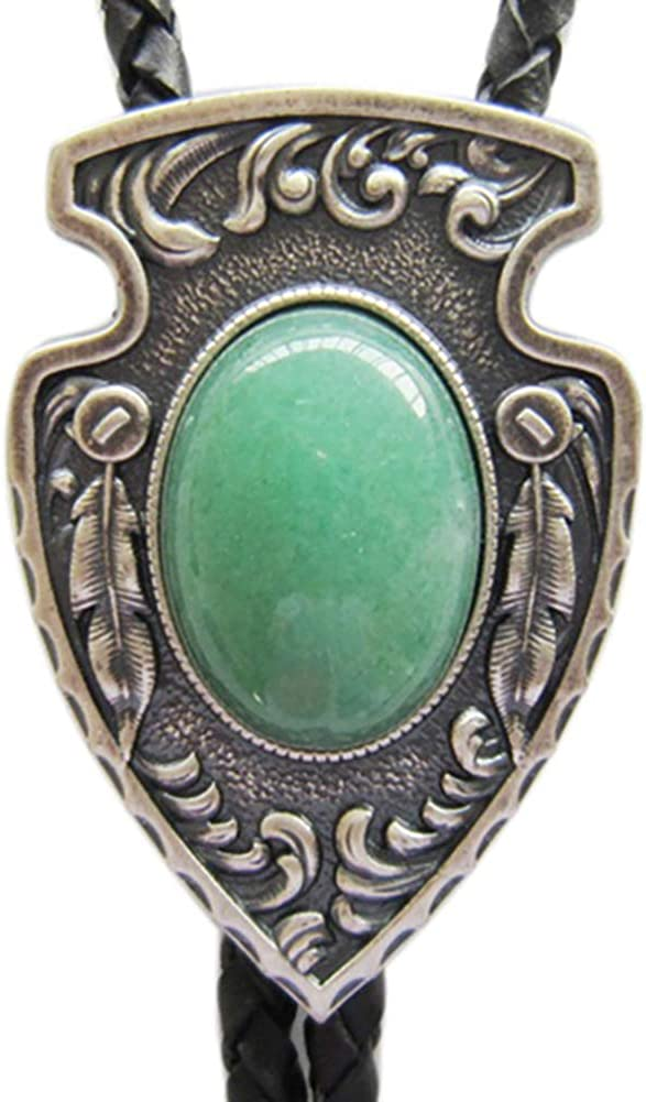 Vintage Silver Plated 2021 Denver Mall spring and summer new Arrow Bolo Tie Stone Malachite