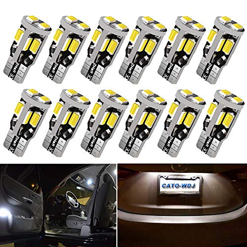 12V 12pcs T10 LED Car Bulb,194 Bulb, 168 LED, 2825 W5W Bulbs, Super Bright 6000K White 10SMD 5730 Chipset 250LM Bulb for Car Interior Dome Map Door Courtesy License Plate Lights