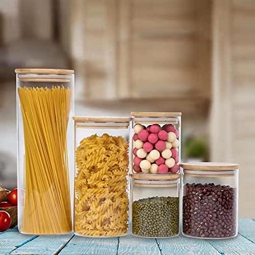 SUCHDECO 5 contenedores de almacenamiento de alimentos de vidrio, tarros de cristal herméticos con tapas de bambú - botes cocina para azúcar, dulces, galletas, arroz y frascos de especias